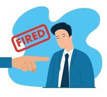 triste empresario siendo despedido vector