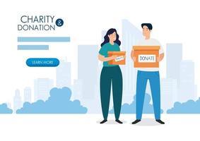 Banner con pareja con caja para caridad y donación. vector
