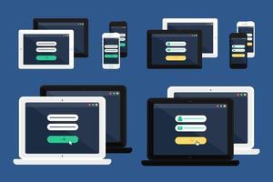 plantilla web de formulario de inicio de sesión en línea adaptable vector