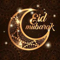 cartel de eid mubarak con luna y decoración. vector