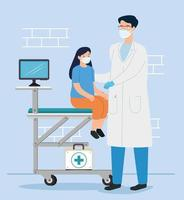 doctor vaccinating a girl in the consulting room vector