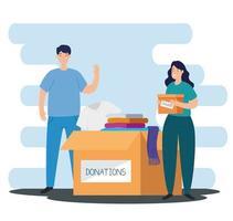 pareja con caja para caridad y donación vector