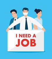gente de negocios con mascarillas en busca de trabajo vector
