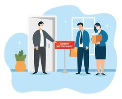 business people with face masks looking for jobs vector