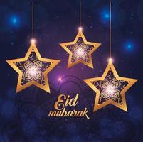 cartel de eid mubarak con estrellas colgando y decoración. vector