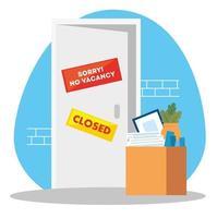 facade company with label sorry no vacancy vector