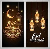 conjunto de carteles de eid mubarak con decoración. vector