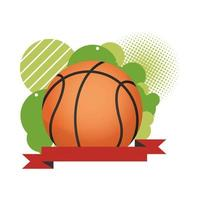 basketball with ribbon frame vector