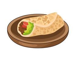 delicious mexican burrito in dish traditional food vector