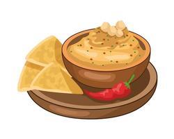 delicious mexican nachos with cheese sauce vector