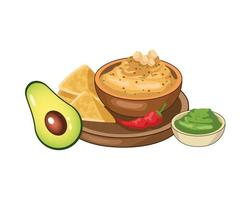 nachos with guacamole mexican food vector
