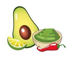 guacamole with chili pepper and avocado vector