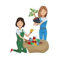mujeres ecologistas reciclando y plantando vector
