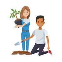 environmentalist couple planting trees vector