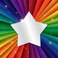 Banner de vacaciones de celebración de arco iris de vector brillante con estrella