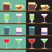 Vector set of goblets, cups, glass