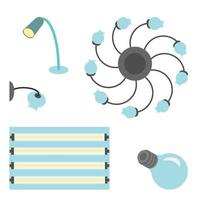 Vector set of different lamps