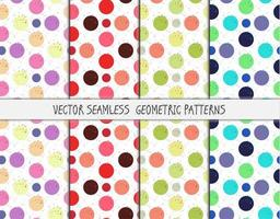 Grunge colorful geometric seamless patterns set vector