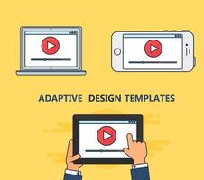 Web Template of Adaptive Video Form vector