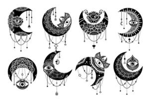 Crescent moon contour symbol linear icons set vector