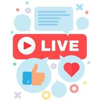 Live stream and communication concept icon vector