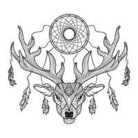cabeza de ciervo con cuernos y atrapasueños. vector