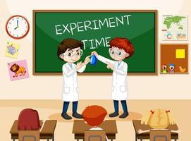 escena del aula con estudiantes con bata de laboratorio vector