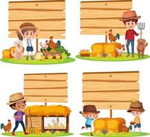 Set of different empty banner with farmer and animals on white background vector
