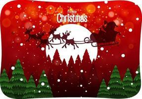 fuente de feliz navidad con santa claus en escena de nieve vector