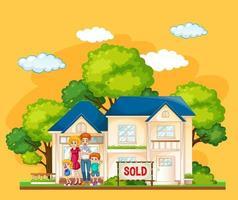 Familia de pie delante de una casa en venta sobre fondo amarillo vector