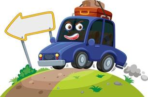 Car travelling on the road with face expression on white background vector