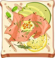 Vista superior de un pan con salmón ahumado vector
