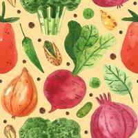 Watercolor design vegetable seamless pattern vector