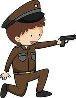 A police man doodle cartoon character isolated vector