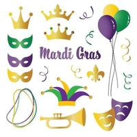 Mardi Gras celebration vector icons