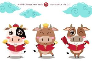 Happy Chinese new year greeting card. 2021 Ox zodiac. Cute cow in red costume and gold money. Animal holidays cartoon character. vector