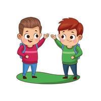 cute little boys avatars characters vector