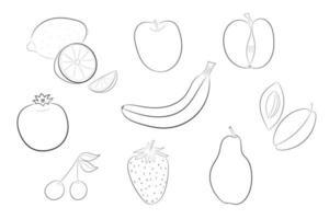 Set of fresh doodle vector fruit