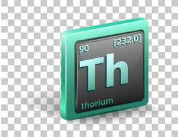 Thorium chemical element. Chemical symbol with atomic number and atomic mass. vector