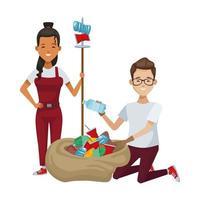 pareja ambientalista reciclando plásticos vector