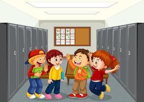 Student at school hallway vector