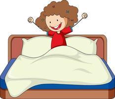 niña acaba de despertar en la cama doodle personaje de dibujos animados vector