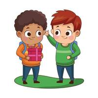 cute little boys with gift avatars characters vector