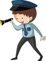 A police officer doodle cartoon character isolated