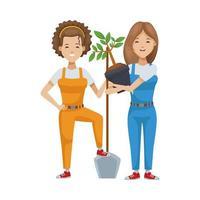 environmentalist women planting tree vector