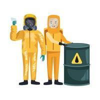 trabajadores con trajes de riesgo biológico y personajes de barril vector