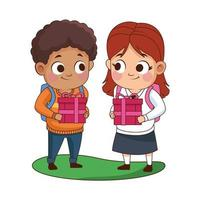 cute little kids with gifts vector