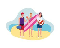 young people wearing swimsuits with surfboard and balloon characters vector