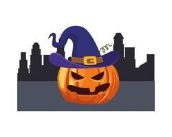 Halloween pumpkin with hat in city vector design