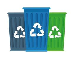 recycle bins isolated icons vector
